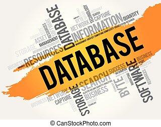 collage, woord, wolk, databank