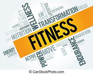 collage, woord, wolk, fitness