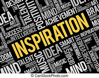 collage, woord, wolk, inspiratie