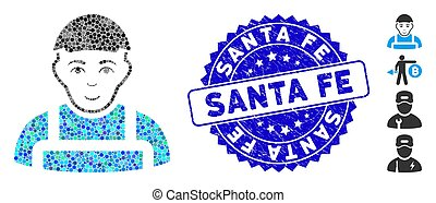 Collage Worker Icon with Textured Santa Fe Seal