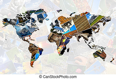World map made of several photos