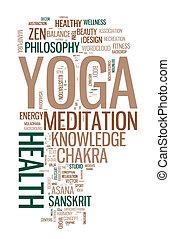 collage, wort, yoga., weißes, hintergrund.