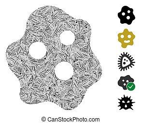 collage, wylęgać się, ameba, ikona