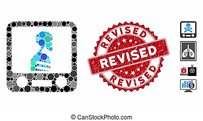Collage Xray Screening Icon with Distress Revised Seal - ...