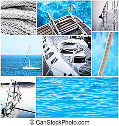collage, yacht, concetto, -, yachting
