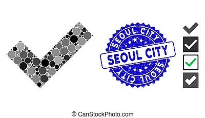 Collage Yes Tick Icon with Scratched Seoul City Seal