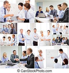 collage, z, dużo, handlowy zaludniają, w, biuro