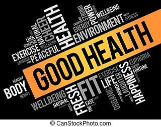 collage, zdrowie, dobry, słowo, chmura