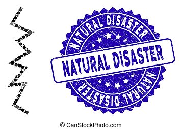 Collage Zigzag Line Icon with Grunge Natural Disaster Seal