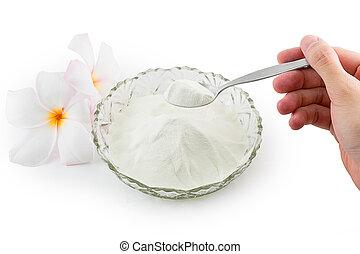 Collagen powder. - Collagen powder protein on spoon measure...
