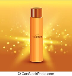 Collagen solution intensive cream tube gold background advertisement poster for pharmaceutical and cosmetics products realistic vector illustration
