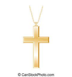 collana, croce, cristiano, oro