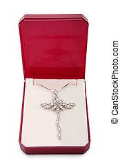 collana, croce, pendente, argento
