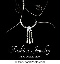 collana di perle, orecchini, donna