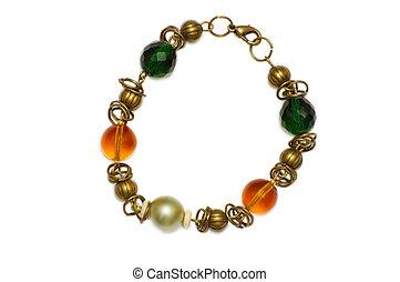 collana, vetro, bracelet.