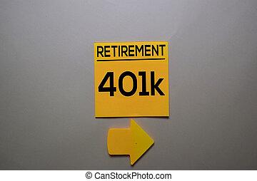 collant, desk., 401k, isolé, écrire, bureau, note, retraite