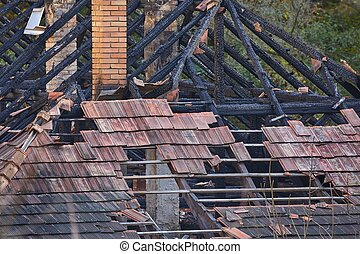 Collapsed House Roof