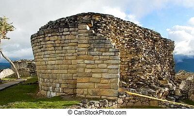 Collapsed incan structure in ruins on Machu Picchu