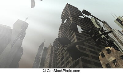 Collapsing building in an animated city - Animation of a big...