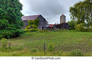 Collapsing Farm - Roadside photo of a collapsing farm in...
