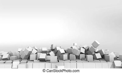 Collapsing wall of white cubes over white background. 3D Illustration. HD.