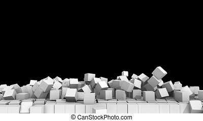 A collapsing wall of white cubes over white background with alpha channel. 3D Illustration. HD.