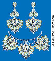 collar, con, perlas, y, pendientes, en, un, fondo azul
