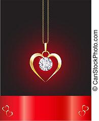 collar, corazón, diamante