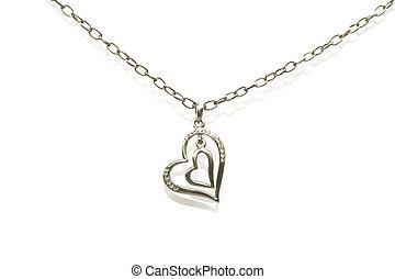 collar, corazones, dos