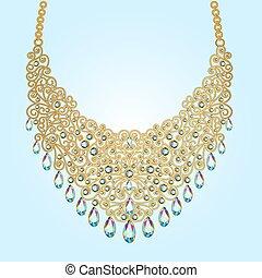 collar, cuentas, mujer, ilustración, piedras preciosas