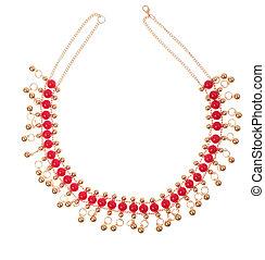 collar, dorado, rojo, gemas