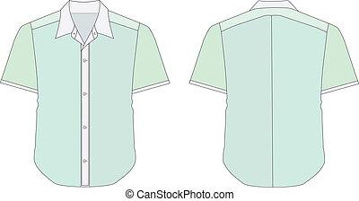 Collar Dress Shirt In Green Color Tones - vector...
