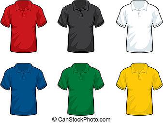 A variety of collar shirts.