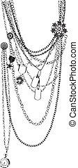 collar, trompe, vector, l'oeil