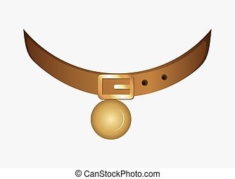 Cartoon Golden Collar with Bell Object for Animal Vector Illustration