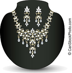 collar, womens, diamante, pendientes, boda
