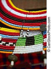 collares, africano, colorido, joyería, étnico