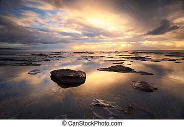 Collaroy reflections at sunrise - Sunrise and reflections at...