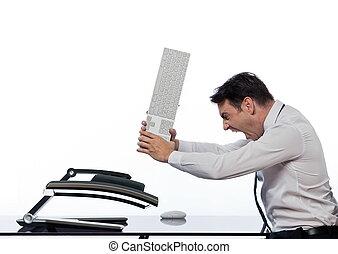 collasso, concetto, relazione, computer, rabbia, uomo