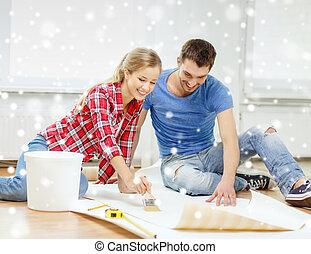 colle, couple, papier peint, enduire, sourire
