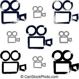 colle, dát, kamera, ikona, realistický, hand-drawn, vektor, video, inkoust
