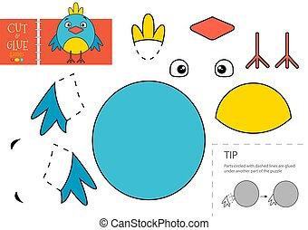 colle, oiseau, vecteur, papier, caractère, activité, pédagogique, toy., coupure, mignon