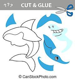 colle, shark., jeu, worksheet, children., pédagogique, activité, dessin animé, coupure