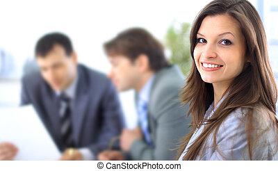 colleagues, женщина, ее, бизнес, расслабленный, назад, уверенная в себе, улыбается
