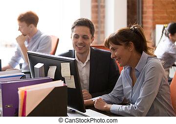 colleagues, офис, работа, вместе, pc, shared, улыбается