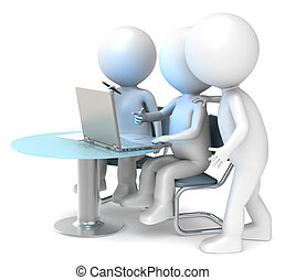 3D little human characters X3 looking at a Laptop Screen. Business People series.
