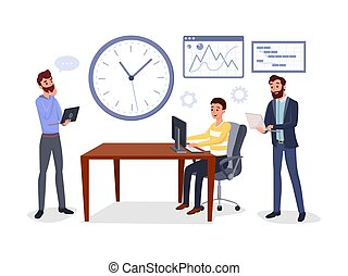 Colleagues business meeting vector illustration