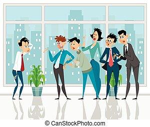 Colleagues convince subordinate - Vector illustration of a ...