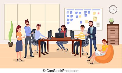 Colleagues group meeting flat vector illustration