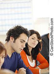 Colleagues in informal meeting